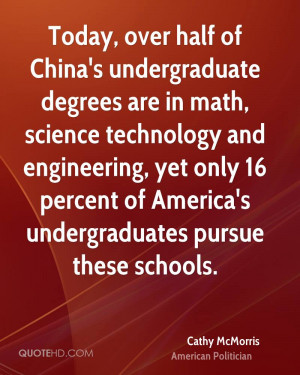 Today, over half of China's undergraduate degrees are in math, science ...