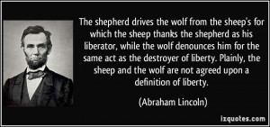 The shepherd drives the wolf from the sheep's for which the sheep ...