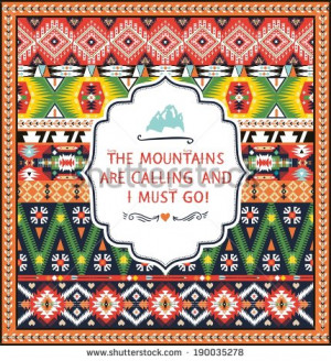 Navajo seamless colorful tribal pattern with quotes on labels - stock ...