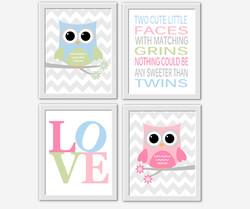 ... Twins Nursery Decor Owl Decor Pink Gray Grey Chevron Twin Quotes Baby