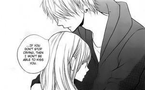 anime couple, black n white, japan, kiss, manga, monochrome, quote ...