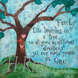 Family Tree Art,Family Wall Art Quote, Mixed Media Art Print , Home ...