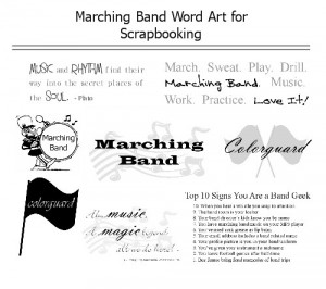 Free Marching Band and Colorguard Word Art for Scrapbooking