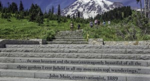 quote by John Muir engraved on the steps of one of the visitor ...