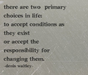 ... as they exist or accept the responsibility for changing them