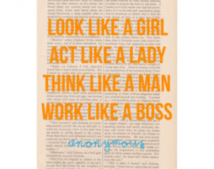 quote, antique dictio nary art print, Look Like a Girl Act Like ...