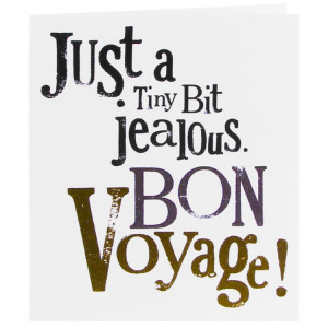 The Bright Side Just A Tiny Bit Jealous. Bon Voyage! Card