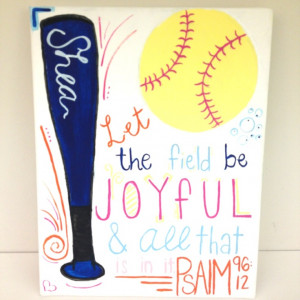 Painted for my best friend for her birthday. Softball canvas!