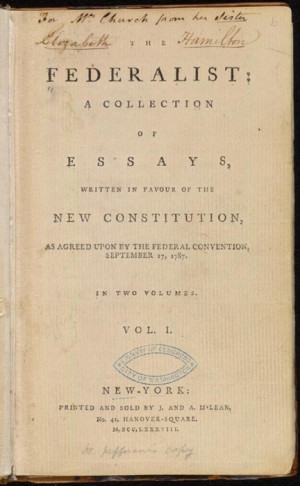 Constitution Photo: The Federalist Papers