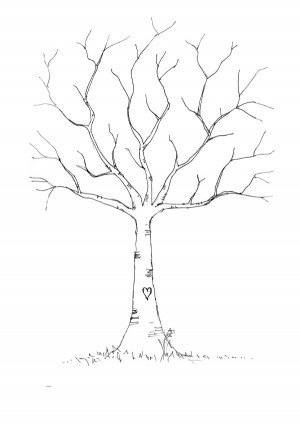 a3 thumbprint tree and one a4 size the tree is drawn out but there is ...