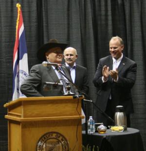 Former Soviet Union President Mikhail Gorbachev accepts a cowboy hat ...