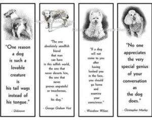 Printable Bookmarks, Dogs in Pencil With Quotes About Dogs, Dog Lovers ...