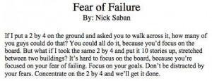 Fear of Failure - Nick Saban