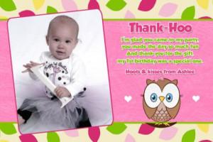 ... Branch, 1st birthday, first birthday, bird, girl, boy, thank you card