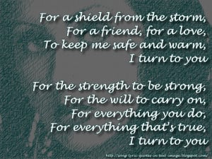 Turn To You - Christina Aguilera Song Lyric Quote in Text Image