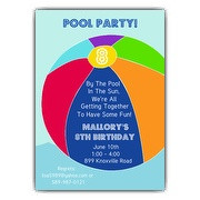 Big Beach Ball Pool Party Invitations