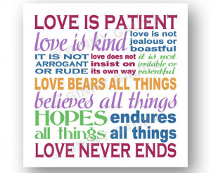 Love is Patient Love is Kind Corinthians Bible Verse Art Print - 8x8