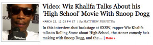 Wiz Khalifa and Snoop Dogg Starring in Stoner Movie