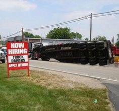 Funny Signs, Hire Trucks, Funny Pictures, Crazy People, Trucks Mishap ...