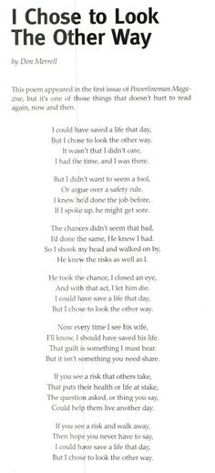 Chose to Look the Other Way by Don Merrell. This poem appeared in ...