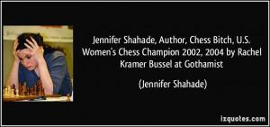 Jennifer Shahade, Author, Chess Bitch, U.S. Women's Chess Champion ...