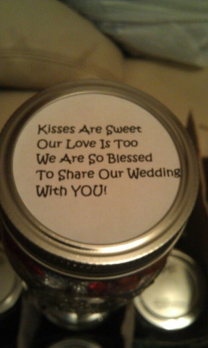 My wedding rehersal jars, filled with hershey kisses