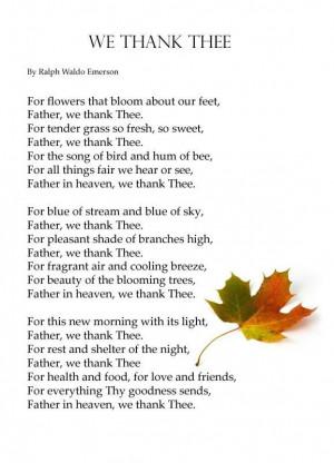 We Thank Thee - Ralph Waldo Emerson