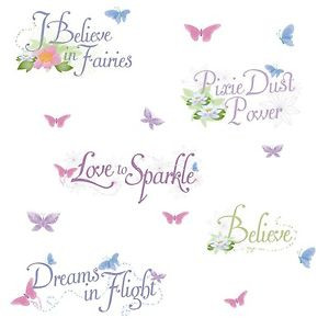 DISNEY-FAIRY-QUOTES-15-Glittery-Tinkerbell-Wall-Decals-Princess-Decor ...