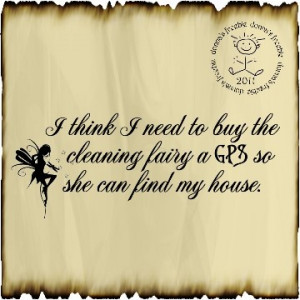 think I need to buy the cleaning fairy a GPS so she can find my ...