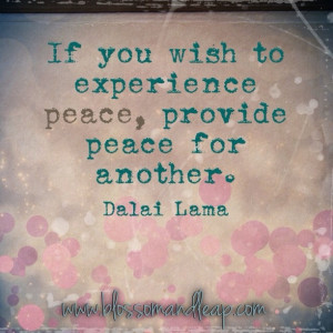 ... you wish to experience peace, provide peace for another. ~Dalai Lama