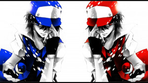 pokemon blue red blue eyes cap red eyes ash ketchum simple background ...