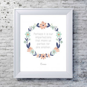 ... Quote Typography Print - Blue, Pink - Whimsical Jane Austen Quote