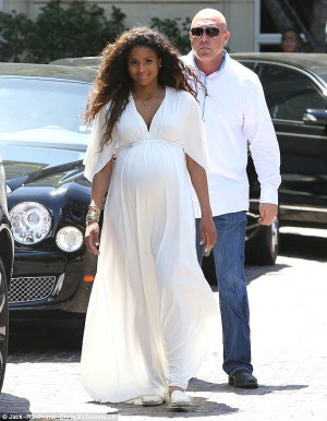 Radiant: Heavily pregnant Ciara was glowing in white as she attended ...
