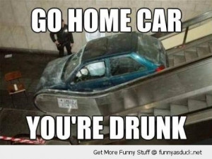 go home car drunk escalator stairs crashed crash funny pics pictures ...
