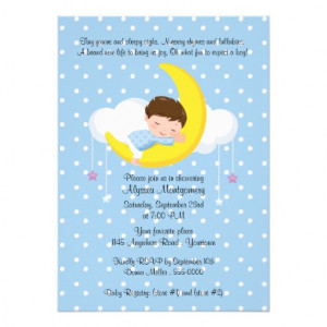 this adorable invitation to a baby shower has a cute baby boy with ...