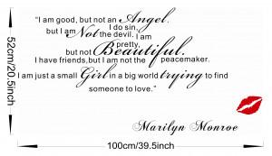 ... Small Girl Big World-Marilyn Monroe Quote Wall Sticker Art Decor BLACK
