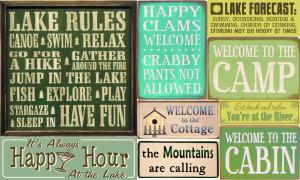 Lake and Camping Wood Signs