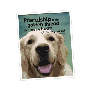 FRIENDSHIP the GOLDEN THREAD, Golden Retriever Art Print, Dog Art ...