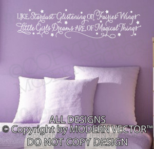Details about STARDUST Glistening Little Girls Dreams Quote Vinyl Wall ...