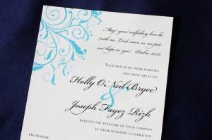 Turquoise Blue Leafy Swirl Wedding Invitations