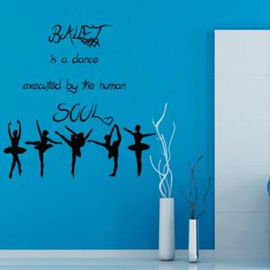 Ballet Wall Decals Dance Quotes Ballerina Girls Gym Wall Decor Vinyl ...