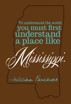 William Faulkner Mississippi Quote in Brown Canvas Print