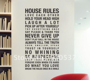 Fashion 60*120cm Vinyl Wall Quote ,House rules Home Decorative Vinyl ...