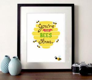 Beehive Illustration bee print the bees by bearandrobotstudio, £10.00