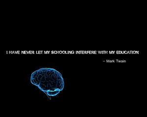 quotes brain mark twain education black background Knowledge Quotes ...