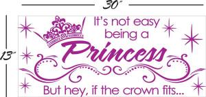 Princess Quotes For Girls Princess crown vinyl wall