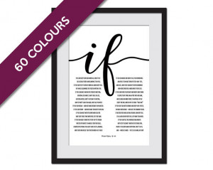 If by Rudyard Kipling - Poetry Quote Poster - Motivational Art ...