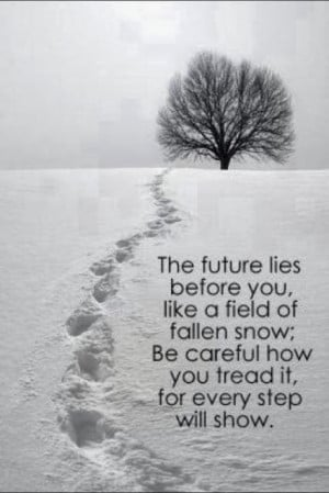 ... snow; be careful how you treat it for every step will show. #quotes