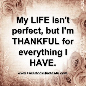 my life isn t perfect but i m thankful for everything i have