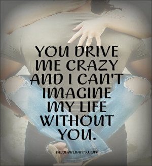 you drive me crazy, and I can't imagine my life without you.